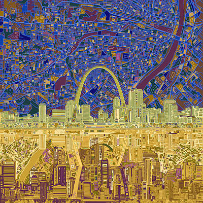Abstract Skyline Paintings - St Louis Skyline Abstract 9 by Bekim M