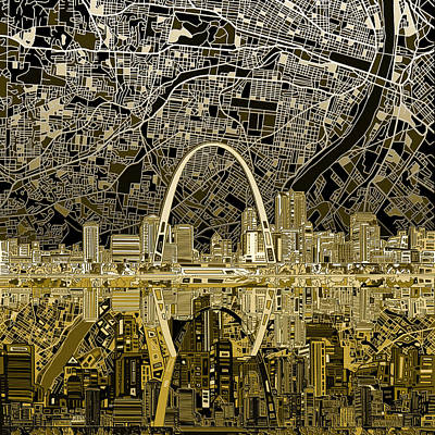 Painting - St Louis Skyline Abstract by Bekim Art