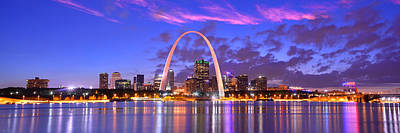 Evening Scenes Photograph - St. Louis Skyline At Dusk Gateway Arch Color Panorama Missouri by Jon Holiday