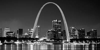 Evening Scenes Photograph - St. Louis Skyline At Night Gateway Arch Black And White Bw Panorama Missouri by Jon Holiday