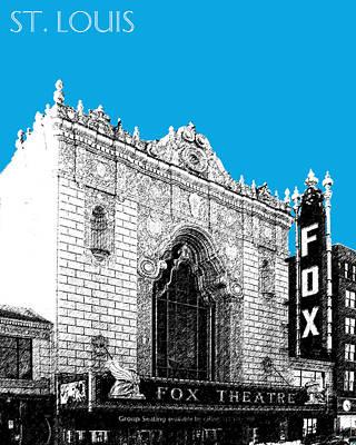 Fox Digital Art - St Louis Skyline Fox Theater - Ice Blue by DB Artist