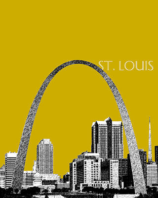 St. Louis Arch Digital Art - St Louis Skyline Gateway Arch - Gold by DB Artist