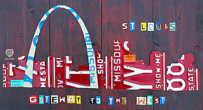 Recycle Mixed Media - St. Louis Skyline License Plate Art by Design Turnpike