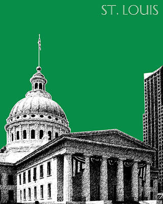 St Louis Skyline Old Courthouse - Forest Art Print by DB Artist