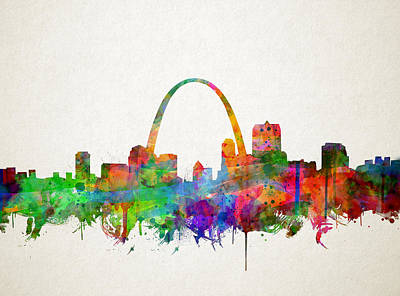 Painting - St Louis Skyline Watercolor 2 by Bekim Art