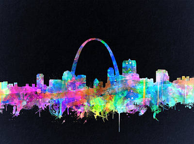 Painting - St Louis Skyline Watercolor 4 by Bekim Art