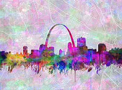 Digital Watercolor Painting - St Louis Skyline Watercolor 6 by Bekim Art