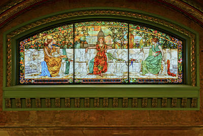 Photograph - St Louis Union Station Allegorical Window by Greg Kluempers