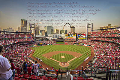 Photograph - St. Louiscardinals Busch Stadium National Anthem by David Haskett II