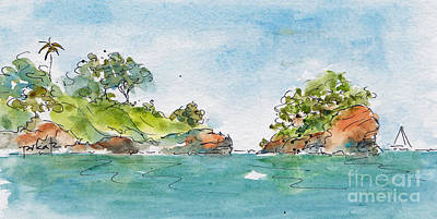 Painting - St Lucia From The Harbour by Pat Katz