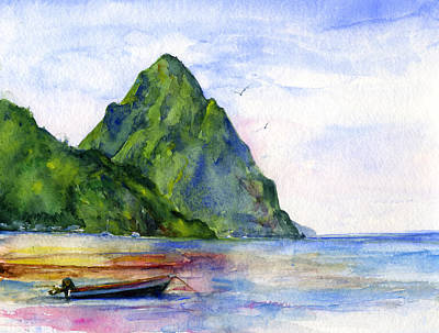 Watercolor Wall Art - Painting - St. Lucia by John D Benson