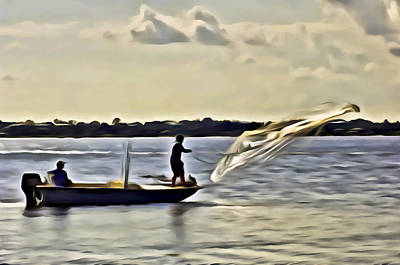 Digital Art - St Lucie Fishermen by Patrick M Lynch