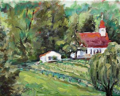 Virginia Wines Painting - St. Lukes Church And Jefferson Vineyards In Charlottesville Va by Donna Tuten