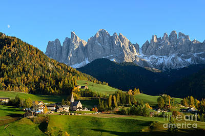 Photograph - St. Magdalena In The Dolomites Mountains In Autumn by IPics Photography