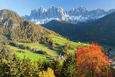 Scenic Photograph - St. Magdalena Village, Geisler Spitzen by Peter Adams