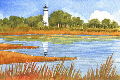 Painting - St. Marks Lighthouse by Audrey Peaty