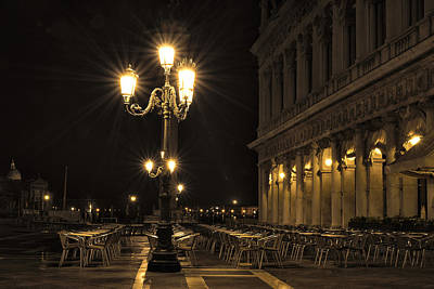 Photograph - St Mark's Square At Night by Marion Galt