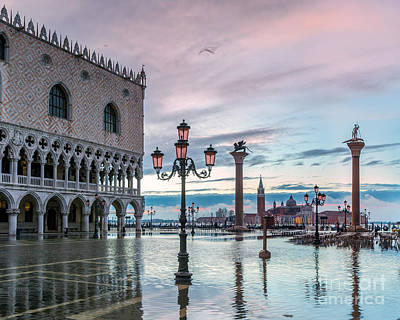 Lion Of St Mark Photograph - St Marks Square Flooded At High Tide - Venice by Matteo Colombo
