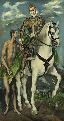 St. Martin And The Beggar Print by Domenico Theotocopuli El Greco
