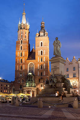 St Mary Basilica And Adam Mickiewicz Monument At Night In Krakow Art Print by Artur Bogacki