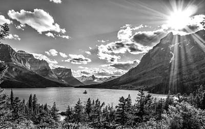 Photograph - St. Mary Lake Bw by Aaron Aldrich