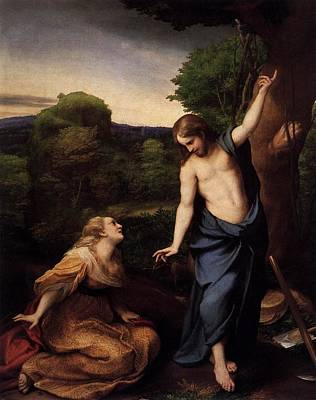 St Mary Magdalene And Christ Art Print by Antonio Correggio