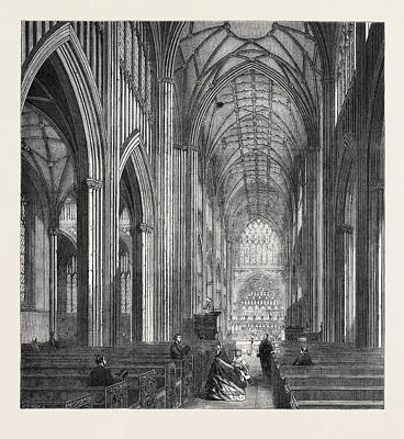 Restoration Drawing - St. Mary Redcliff Bristol In Process Of Restoration by English School