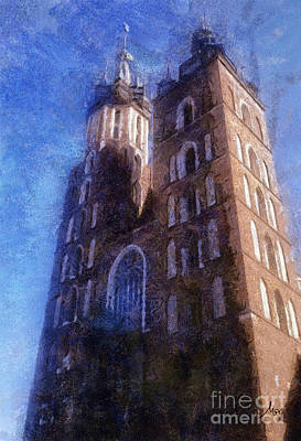 Cracovia Drawing - St. Mary's Church Cracow by Mo T