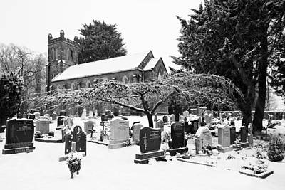 Photograph - St Mary's Church Yard In The Snow - Clonsilla - Dublin by Barry O Carroll