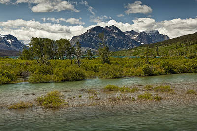 Photograph - St Marys River And Mountain Range At Glacier National Park Image No. 2816 by Randall Nyhof
