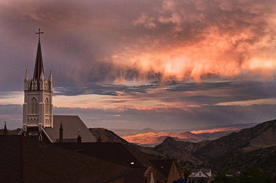 Sunset Photograph - St Mary's Virginia City Sunset by Janis Knight