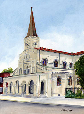 Beige Glass Painting - St. Maurice Church by Elaine Hodges