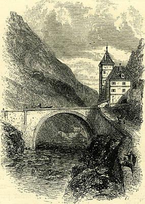 St. Maurice Switzerland Engraving 19 C Art Print by Swiss School