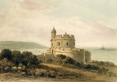 Castle Drawing - St Mawes Castle by John Chessell Buckler
