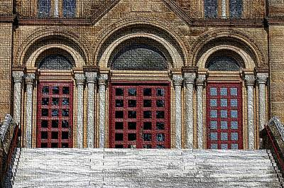 Church Pillars Digital Art - St. Meinrad Archabbey-doors by Thia Stover