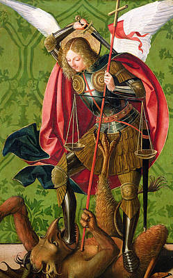 Archangel Painting - St. Michael Killing The Dragon  by Josse Lieferinxe