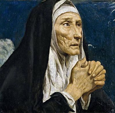 Luis Sales Painting - St Monica by Luis Tristan de Escamilla