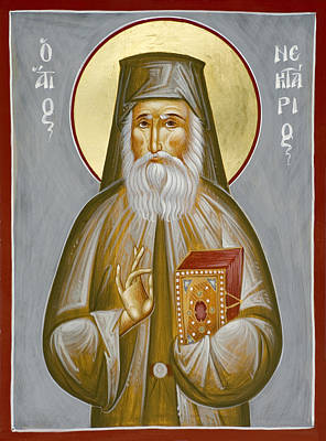 Painting - St Nektarios Of Aegina by Julia Bridget Hayes