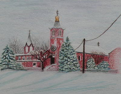 Drawing - St. Nicholas Church Roebling New Jersey by Lora Duguay