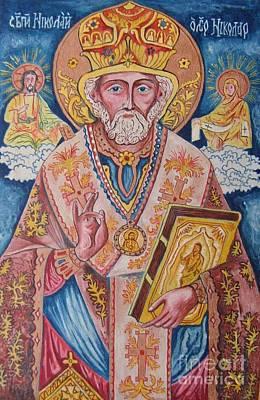 St Nicholas Icon Painting - St. Nicholas by Milen Litchkov