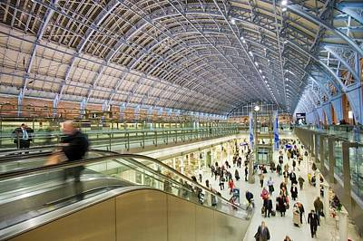 Blue Roof Photograph - St Pancras Railway Station In London Uk by Ashley Cooper