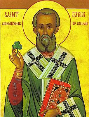 Religious Art Painting - St Patrick And The Shamrock by Pam Neilands