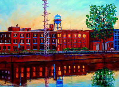Painting - St Patrick Street Pointe St Charles City Scene Vanishing Montreal by Carole Spandau