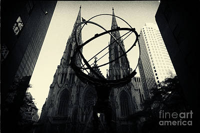 Modern Photograph - St Patrick's Cathedral And Statue Of Atlas New York City by Sabine Jacobs