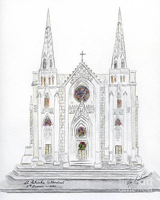 Painting - Christmas At St. Patrick's Cathedral by AFineLyne