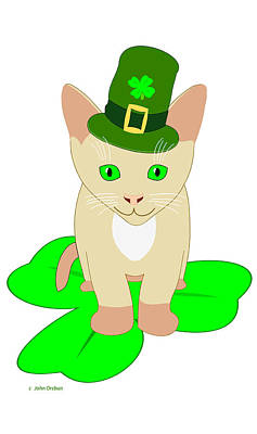 Drawing - St. Patrick's Day Cat by John Orsbun