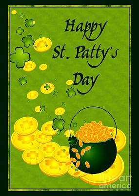 Digital Art - St. Patty's Gold by JH Designs