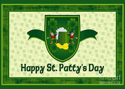 Digital Art - St. Patty's Shield by JH Designs