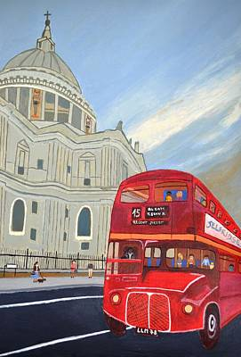 Art Print featuring the painting St. Paul Cathedral And London Bus by Magdalena Frohnsdorff