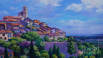 Nice France Painting - St. Paul De Vence Panoramic by John Clark